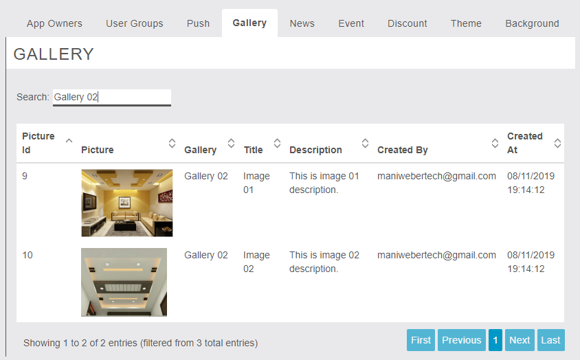 MigaAppManager - Gallery - Owner End