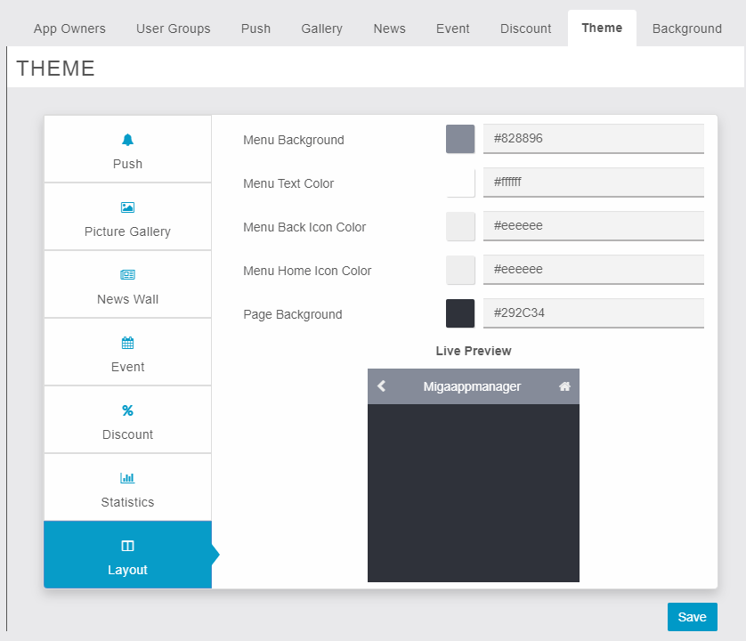 MigaAppManager - Theme - Layout - Owner End