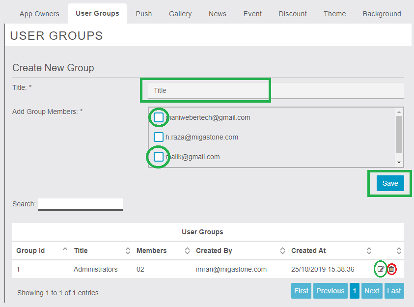 MigaAppManager - User Groups